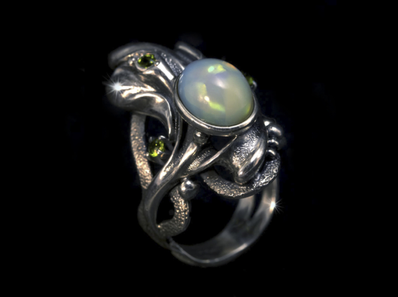 Кольцо, украшение, опал, серебро